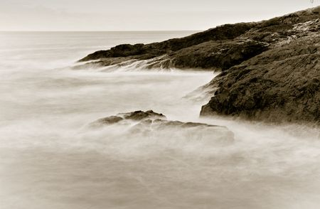 vapour: soft and vapour like water on rocks at the sea