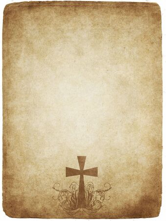cross on old worn and grungy parchment paper photo