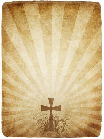 cruz religiosa: Cruz de antiguos y usados grungy papel pergamino