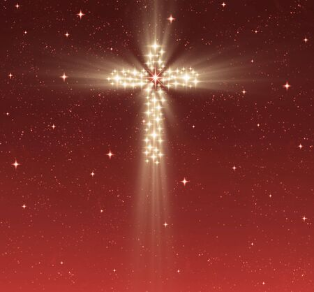 christian background: great glowing christian cross in starry night sky