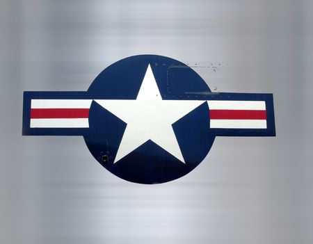 bomber: great star on brushed metal as on military aircraft Stock Photo
