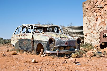 jalopy: great image of an old car in the desert