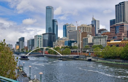 melbourne: yarra river in the city of  melbourne