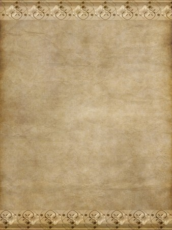 edging: great old paper or parchment background with decorative floral edge Stock Photo