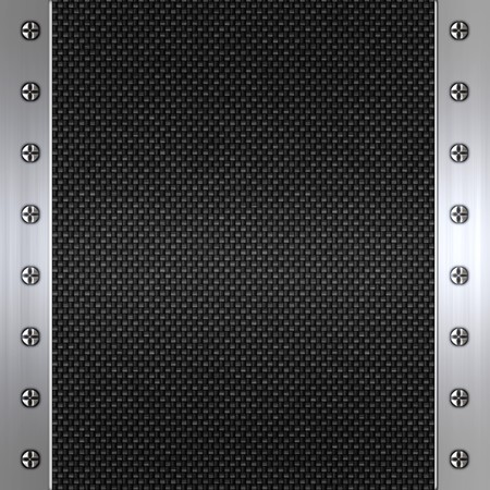 carbon steel: image of carbon fibre inlaid in brushed metal frame Stock Photo