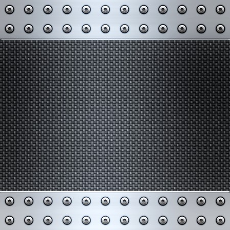 image of carbon fibre inlaid in brushed metal frame Stock Photo