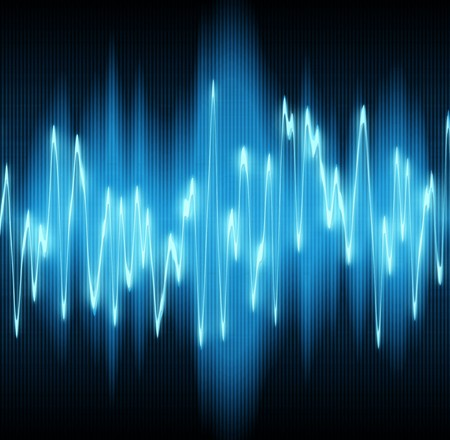 sonido: ondas sonoras oscilantes sobre fondo negro Foto de archivo