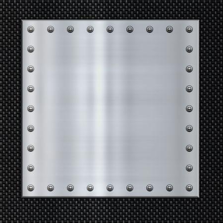 piastra acciaio: grande immagine in lamiera d'acciaio sulla fibra di carbonio Archivio Fotografico