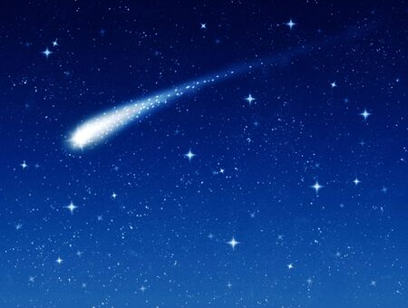 wishes: make a wish on this shooting star going across a starry sky