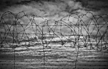 gaol: excellent image of barbed wire rolls in black and white