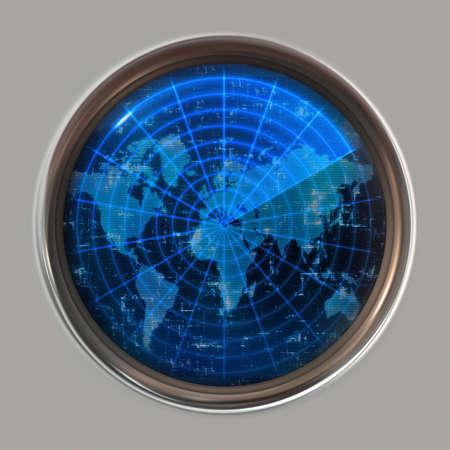 sonar: grande immagine di una mappa del mondo su un sonar o schermo radar