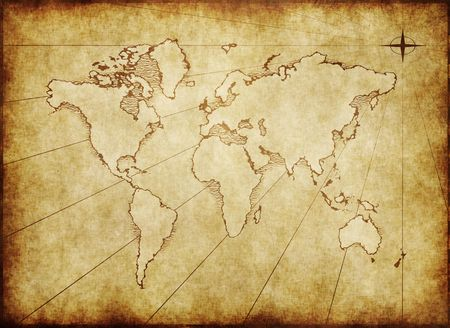 old world map: an old world map drawn onto parchment paper
