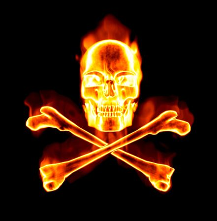 great image of a fiery skull and cross bones on black