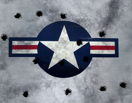 great image USAF star roundel on grunge  metal with bullet holes