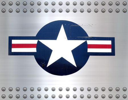 usaf: great star on brushed metal as on USAF military aircraft