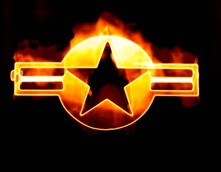 usaf: great image of the USAF Star roundel on fire Stock Photo