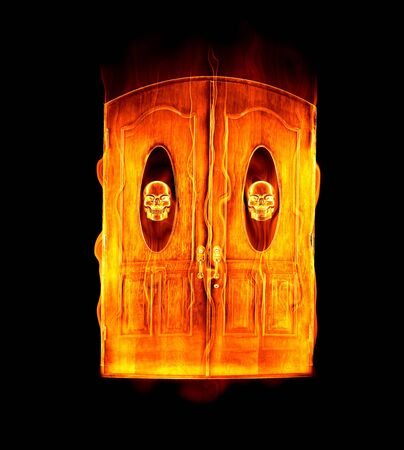 hellish: great image of the door to hell in flames with skull motif Stock Photo
