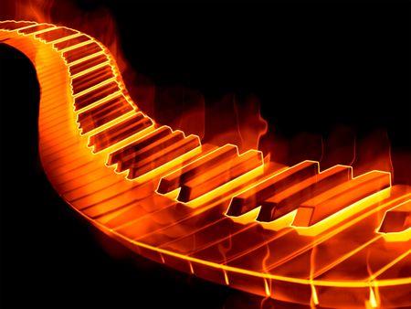grande immagine di una tastiera di pianoforte o chiavi in fiamme Archivio Fotografico