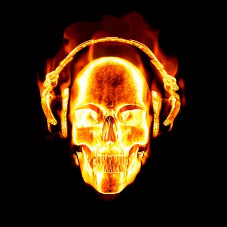 labareda: grande imagem de cr�nio flamejante usando fones de ouvido Banco de Imagens