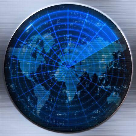 sonar: great image of a world map on a sonar or radar screen