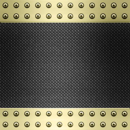 carbon fibre: image of carbon fibre inlaid in gold metal frame Stock Photo