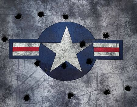 army background: great image USAF star roundel on grunge  metal with bullet holes