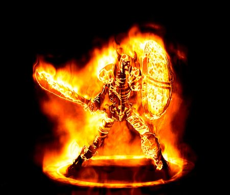 fantasy sword: great image of a fiery and flaming skeleton warrior