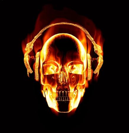great image of flaming skull wearing headphones photo