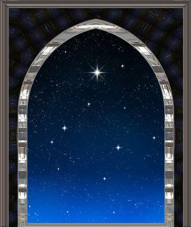 noche estrellada: g�tico de ciencia ficci�n o la ventana mirando hacia el cielo nocturno estrellado con el deseo de estrellas Foto de archivo