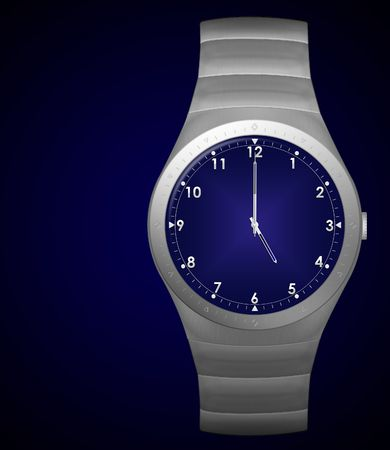 five o'clock: five oclock finish time with wristwatch Stock Photo
