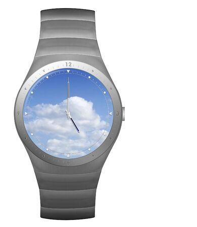 jewellry: five oclock finish time with wristwatch blue sky watch face