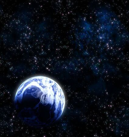 great image of a blue earth like planet in space Stock Photo - 5541878