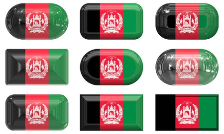 nine glass buttons of the Flag of afghanistan photo