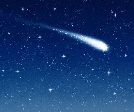 cielo estrellado: hacer un deseo sobre este shooting star va a trav�s de un cielo estrellado