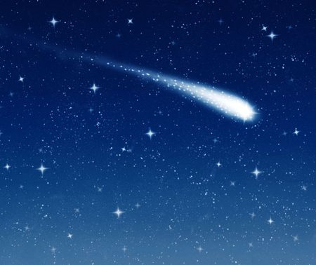 wishing: make a wish on this shooting star going across a starry sky