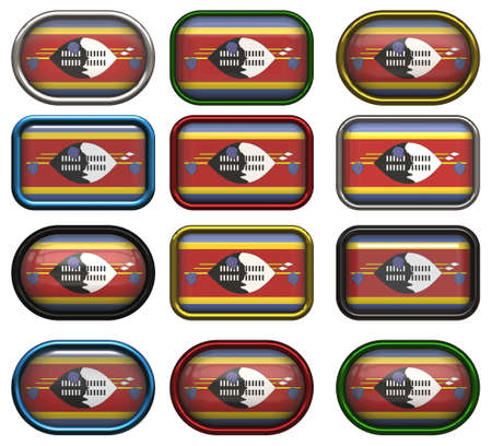 swaziland: twelve buttons of the Flag of Swaziland