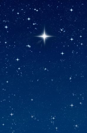 star: big bright wishing star in the night sky Stock Photo