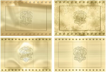 Great Image of four gold embossed flags of  andorra photo