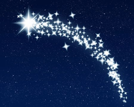 and shining: great image of a shooting wishing star for christmas