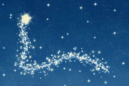 great christmas wishing star and trail at night photo