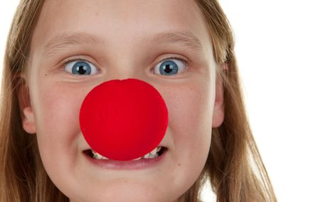 young girl with a red nose photo