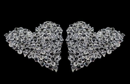 two love hearts made of diamonds on black background Stock Photo - 6343914