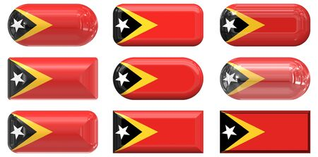 nine glass buttons of the Flag of East Timor photo