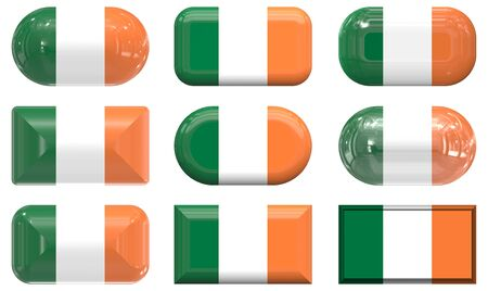 nine glass buttons of the  Flag of Ireland Stock Photo - 6344018