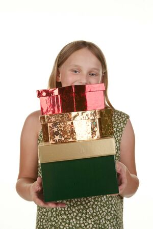 give out: young girl carrying presents to give out