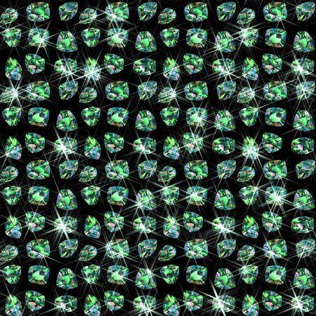 green gemstones: lots of shiny green emerald gemstones on a black background