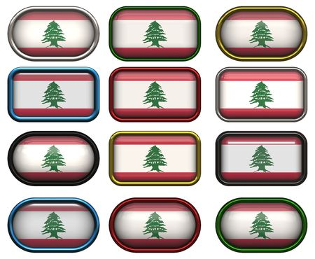 twelve Great buttons of the Flag of Lebanon photo