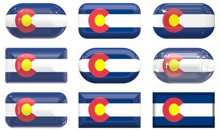 colorado flag: nine glass buttons of the Flag of Colorado