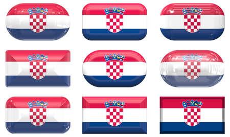 nine glass buttons of the Flag of Croatia photo