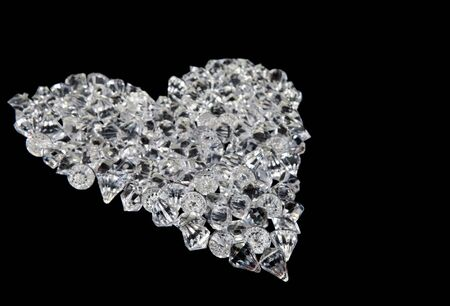 great love heart made of diamonds on black background Stock Photo - 6402094